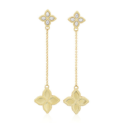 18K Yellow Gold Princess Flower Collection Drop Earrings With Diamonds