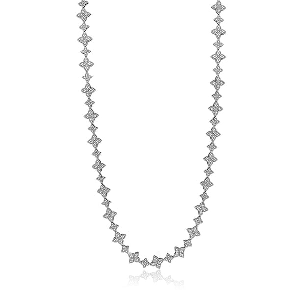 18K White Gold Princess Flower Collection Diamond Necklace