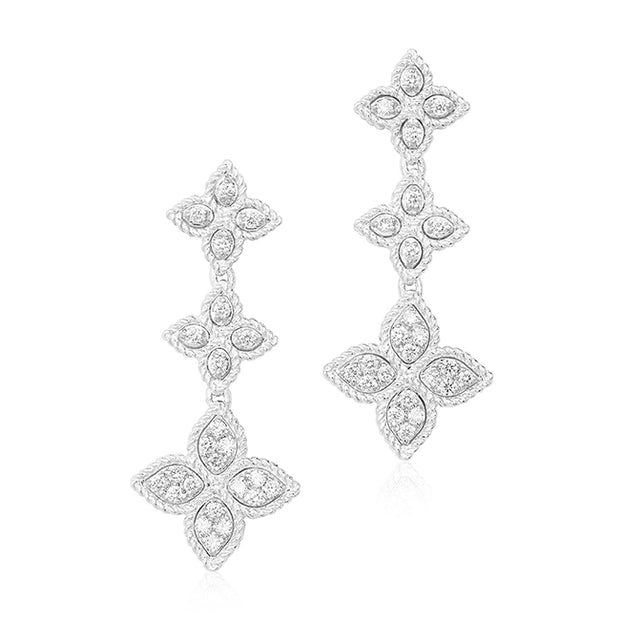 18K White Gold Diamond Flower Drop Earrings