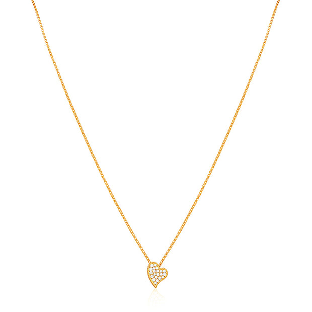 18K Yellow Gold Necklace With A Heart Shaped Diamond Pendant