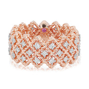 18K Rose Gold New Barocco Diamond Ring With Square Cable Design