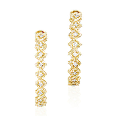 18K Yellow Gold New Barocco Diamond Hoop Earrings