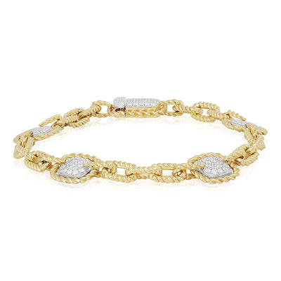 18K Yellow Gold Bracelet With Square Diamond Stations And Rectangular Rope Links
