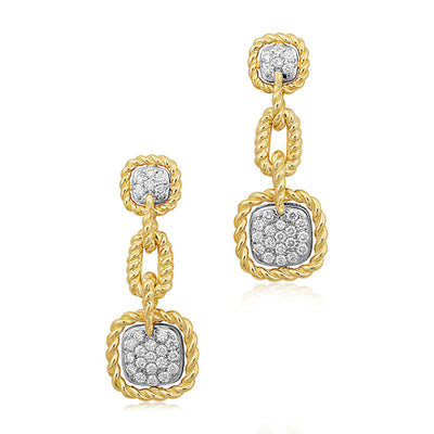 18K White And Yellow Gold Barocco Collection Diamond Drop Earrings