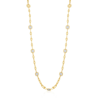 18K Yellow Gold New Barocco Collection Link Necklace With Diamonds
