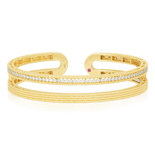18K Yellow Gold Symphony Collection Two Row Hinged Bangle Bracelet With Diamonds