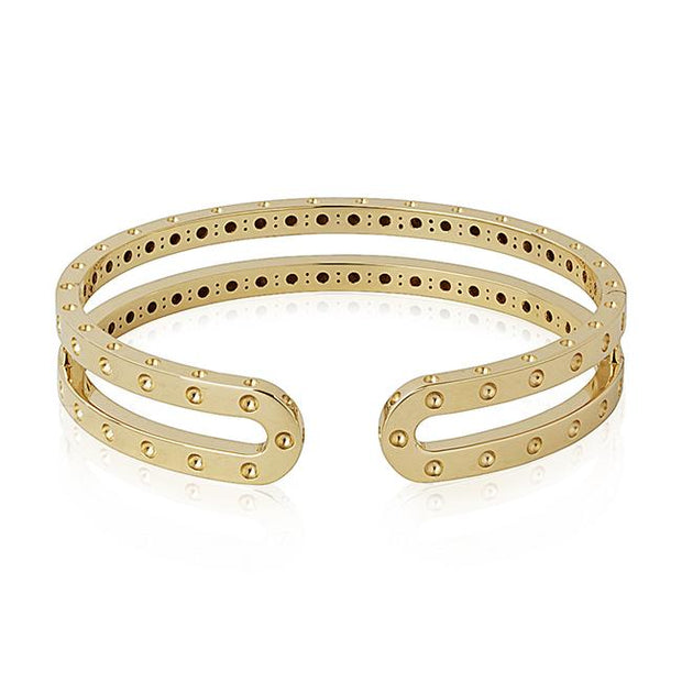 18K Yellow Gold Symphony Collection Two Row Bangle Bracelet