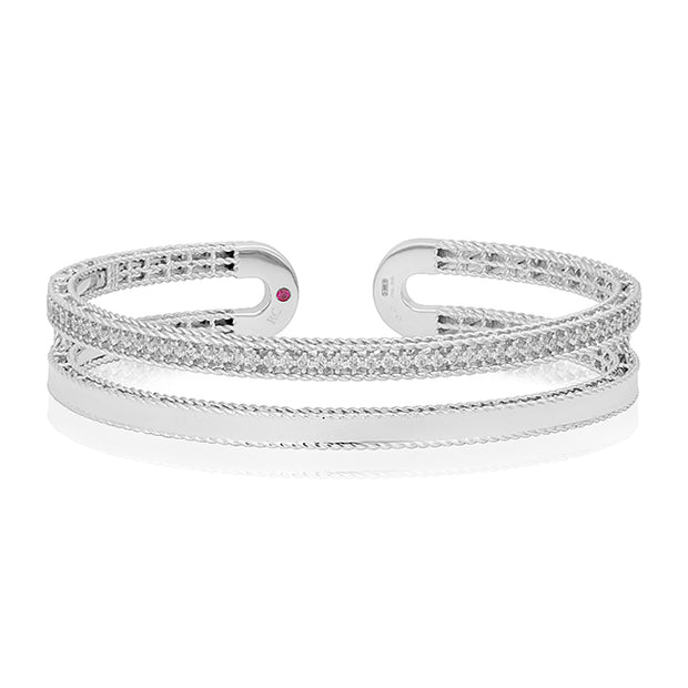 18K White Gold Symphony Collection Double Row Diamond Bangle