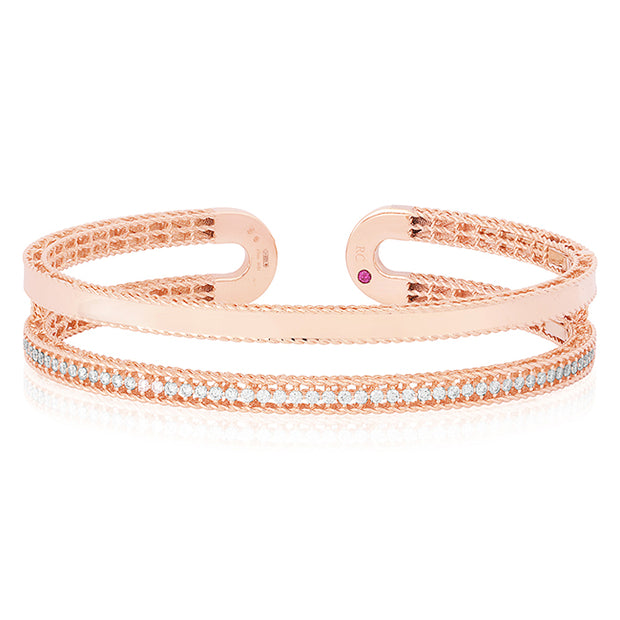 18K Rose Gold Symphony Collection Two Row Bangle Bracelet With Diamonds