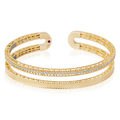18K Yellow Gold Symphony Collection Two Row Bangle Bracelet With Diamonds And Cable Design