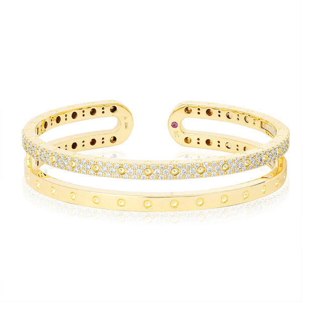 18K Yellow Gold Symphony Collection Two Row Diamond Bangle