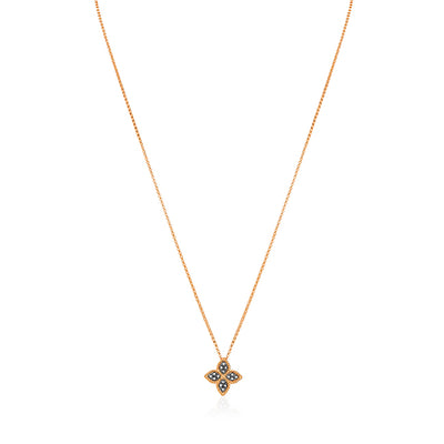 18K Rose Gold Princess Flower Collection Necklace With A Flower Pendant Set With Black Diamonds