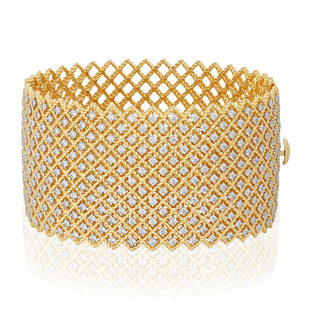 18K Yellow Gold Barocco Collection Bracelet With Diamonds And Cable Design