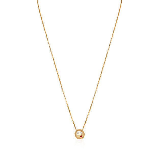 18K Yellow Gold Joke Emoji Necklace