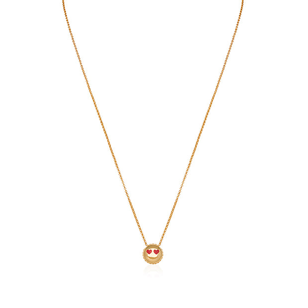 18K Yellow Gold Love Emoji Necklace