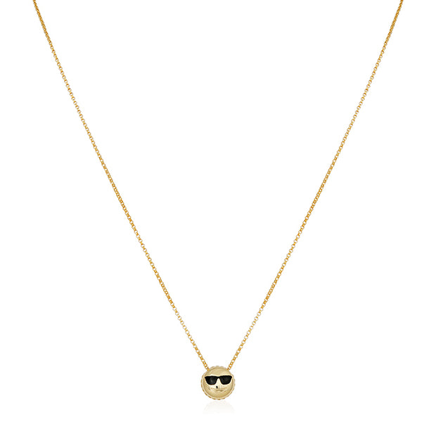 18K Yellow Gold Cool Emoji Necklace