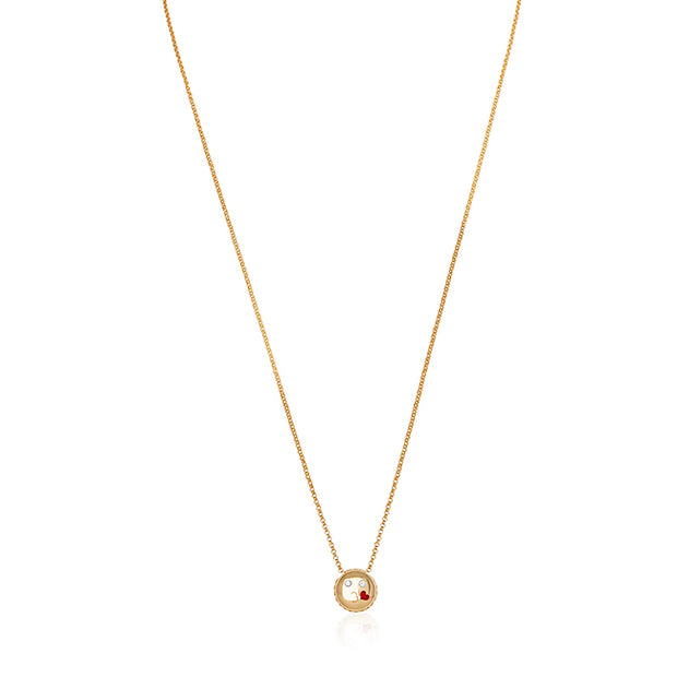 18K Yellow Gold Kiss Emoji Necklace