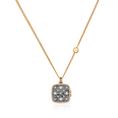 18K Rose Gold Princess Flower Collection Locket With Black And White Diamonds