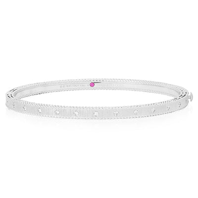 18K White Gold Princess Collection Hinged Bangle Bracelet With Diamonds