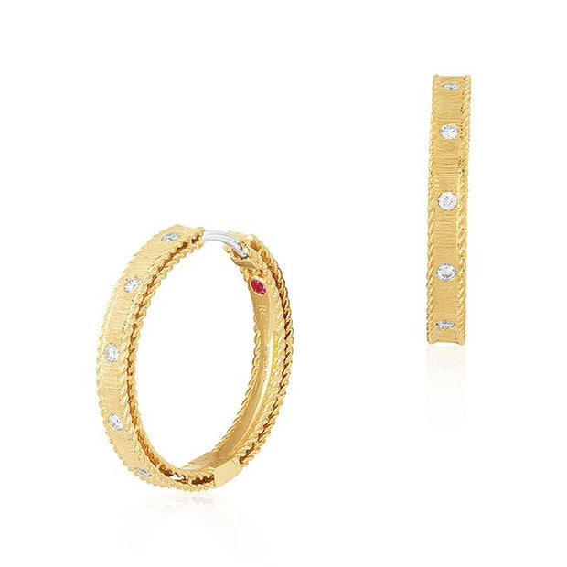 18K Rose Gold Princess Collection Diamond Hoop Earrings