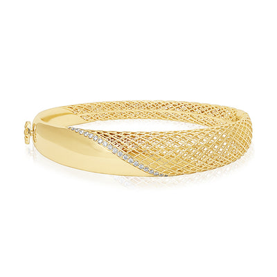 18K Yellow Gold Rounded Hinged Bangle Bracelet With Diamonds And Woven Design