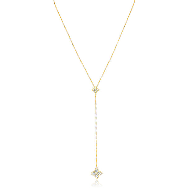 Roberto Coin 18K Yellow Gold Princess Flower Collection Necklace with Flower Diamond Stations