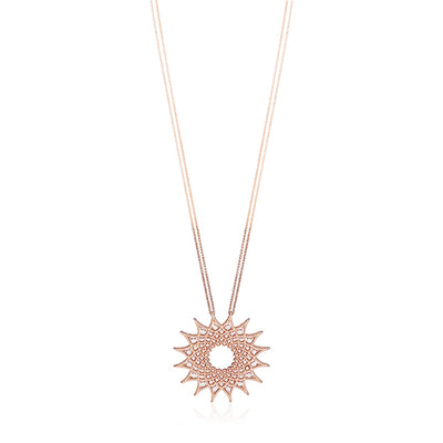 Rose Gold Roman Barocco Star Pendant Necklace