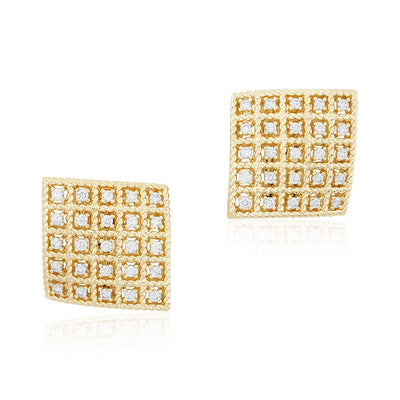 18K Yellow Gold Diamond Byzantine Barocco Collection Earrings