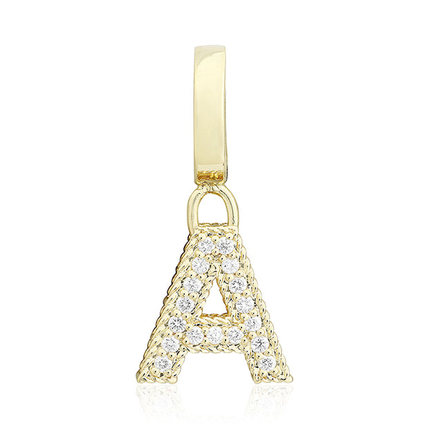 "Roberto Coin Yellow Gold ""A"" Initial Pendant Necklace with Diamonds"