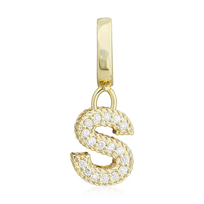 "Yellow Gold Initial ""S"" Pendant with Diamonds"
