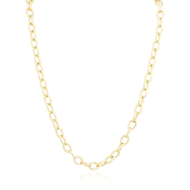 Roberto Coin Yellow Gold Oval Link Necklace