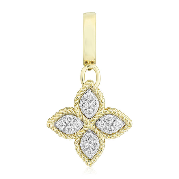 18K Yellow Gold Diamond Flower Pendant