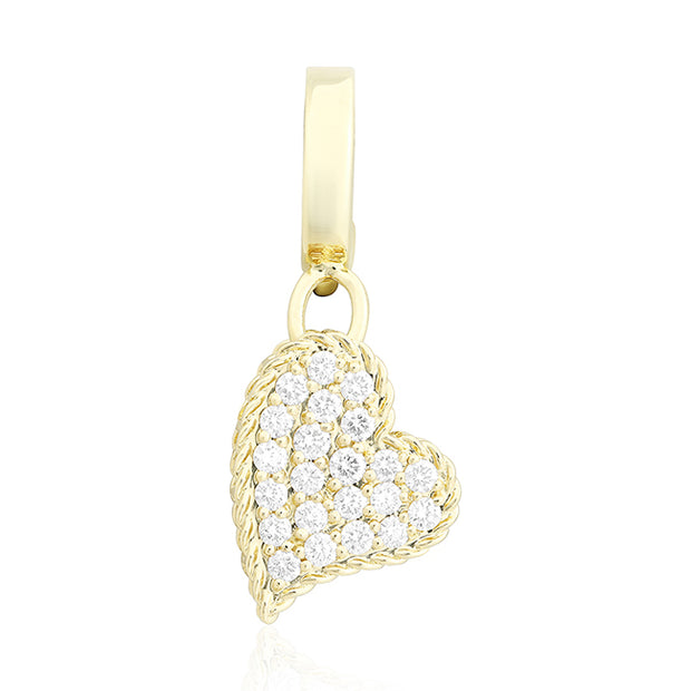 18K Yellow Gold Heart Pendant with Round Diamonds