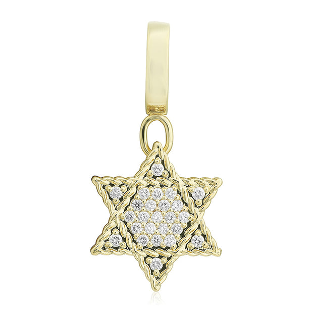 Roberto Coin 18K Yellow Gold Star of David Pendant With Round Diamonds
