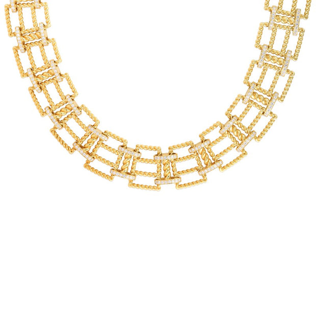 18K Yellow Gold Wide New Barocco Collection Diamond Collar Necklace