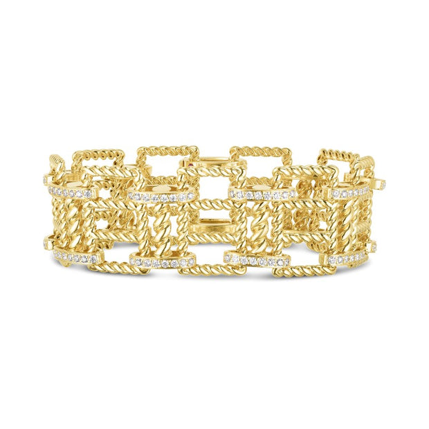 18K Yellow Gold Wide New Barocco Collection Diamond Bracelet