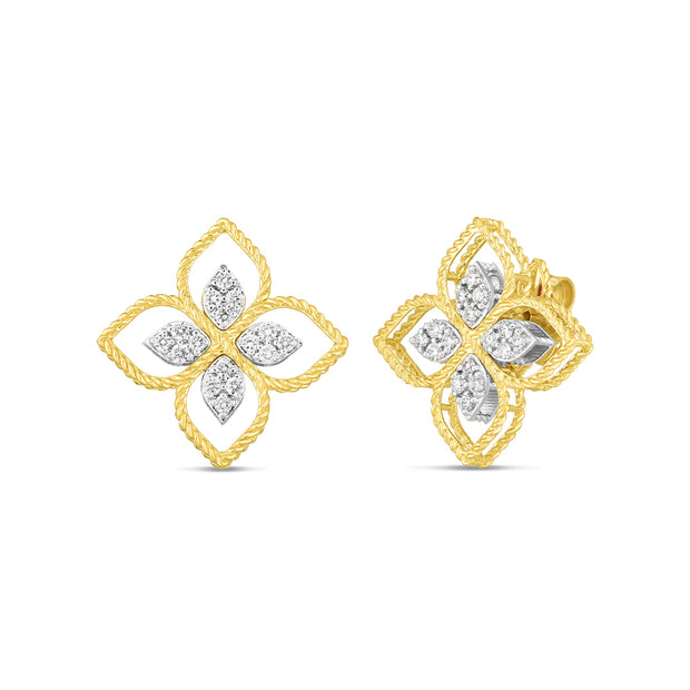 18K Yellow and White Gold Principessa Flower Collection Diamond Earrings