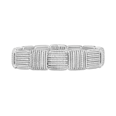 18K White Gold Opera Collection Woven Motif Diamond Flexible Bracelet