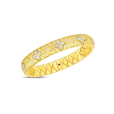 18K Yellow and White Gold Royal Princess Flower Diamond Bracelet