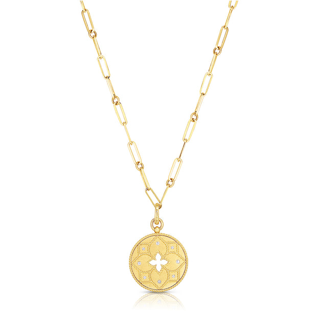 18K Yellow Gold Venetian Princess Collection Paperclip Chain and Diamond Medallion Pendant Necklace