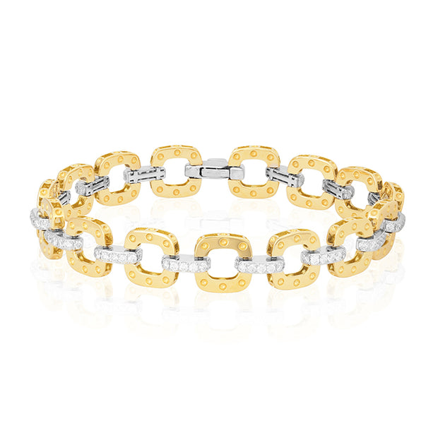 18K Yellow and White Gold Link Bracelet