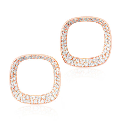 18K Rose Gold Earrings with Mother of Pearl and Diamonds