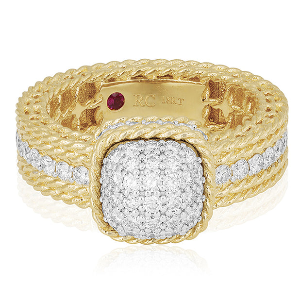 Yellow Gold New Barocco Diamond Ring