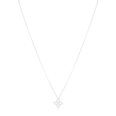 White Gold Princess Flower Diamond Necklace