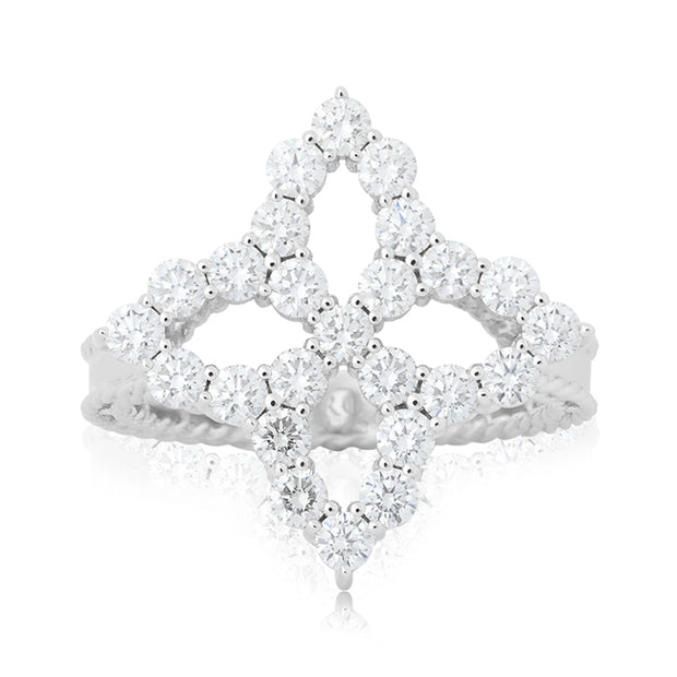 18K White Gold Princess Flower Collection Diamond Ring