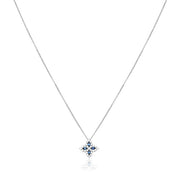 Princess Flower Collection White Gold and Blue Sapphire Necklace