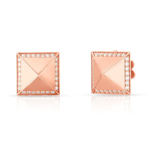 18K Rose Gold Obelisco Collection Diamond Stud Earrings