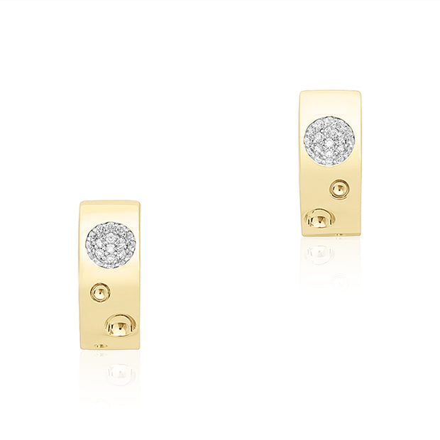 18K Yellow Gold and White Gold Diamond Earrings