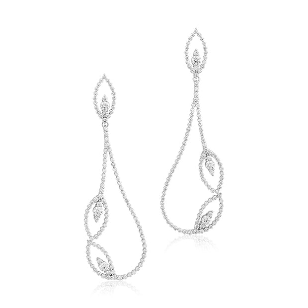 18K White Gold Diamond Leaf Earrings