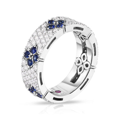 18K White Gold Love in Verona Sapphire and Diamond Ring